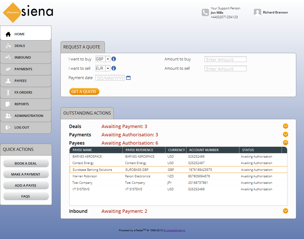 eurobase siena banking solutions screenshot of epayments