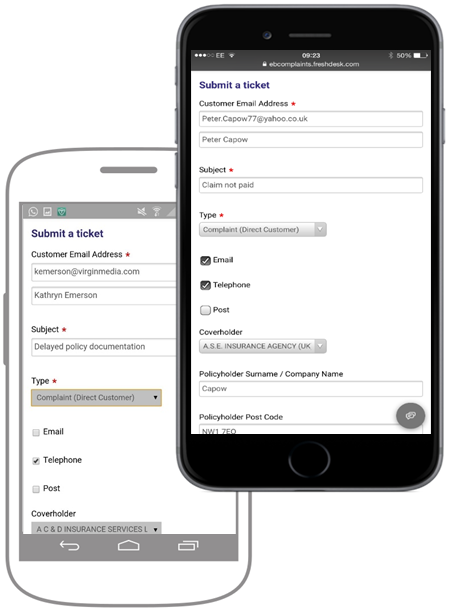 complaints manager mobile phones for reporting information whenever